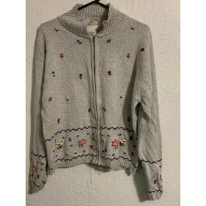 Northern Reflections Vintage Floral Zip Sweater L